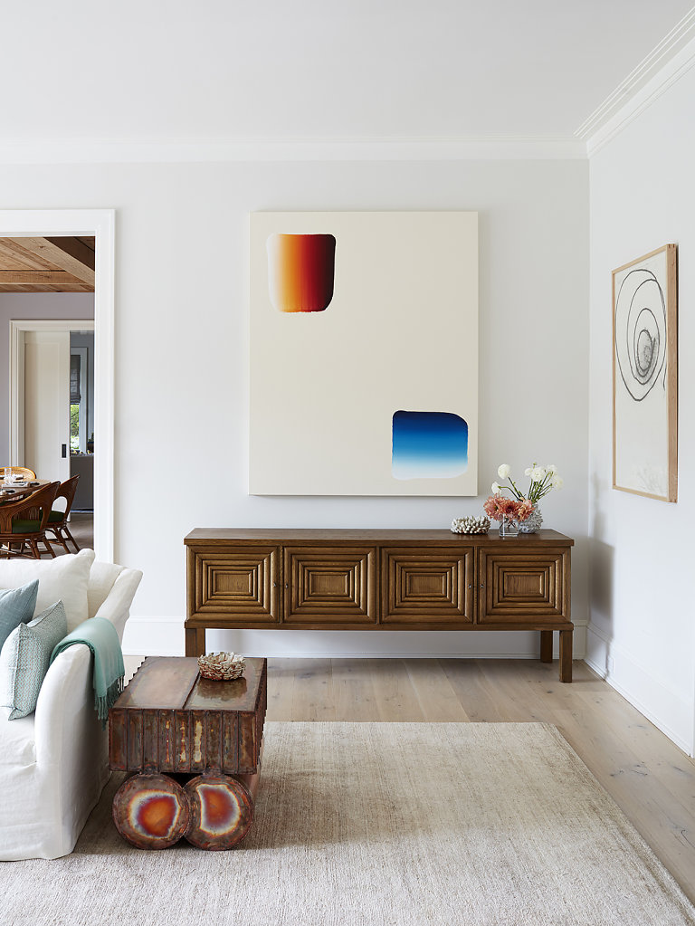 Marc Glimcher and Fairfax Dorn Home Courtesy Elle Decor US March 2020 Art: Lee Ufan - Console Oscar Nielson, Copper Side Table Kwangho Lee